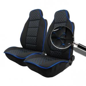 Комплект Универсална кожена тапицерия тип масажор  черен с син шев