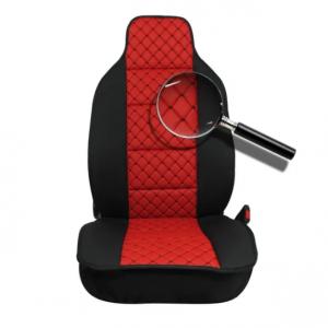 Комплект Универсална кожена тапицерия тип масажор  червен с черен шев